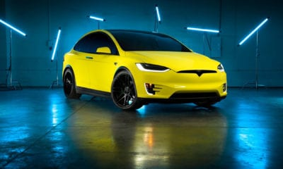 Custom 3M Yellow Vynil Wrapped Model X With Forgestar F14 Wheels