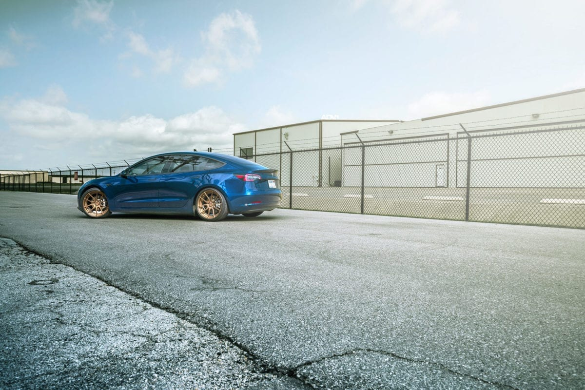 Deep Blue Metallic Tesla Model 3 Dual Motor With ADV.1 Wheels